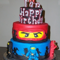 Lego Ninjago Cake I just finished this cake for my grandsons 8th birthday, It is a white and chocolate cake with bubble gum buttercream. Just what he wanted...