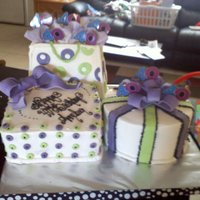 40Th Birthday Birthday gift bag, and boxes. Bc iced mmf accents and gum paste bows and tissue paper.