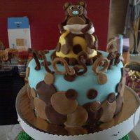 "Monkey Baby Shower I call this my ""plump"" monkey cake. Fondant monkey (should have used gum paste!) 6"" apple spice cake with caramel icing, mmf..."