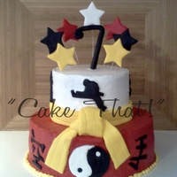 Karate Cake! This cake is iced with traditional buttercream icing, and has fondant accents!