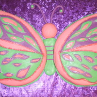 Butterfly large butterfly made with a 10 in paisley pan. For a one year old birthday party. The small butterfly was just for the birthday girl...