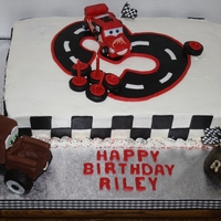 Cars Birthday Cake Cars 3rd birthday cake. Mater and Lightning McQueen are all hand molded.