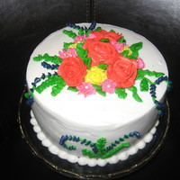 Bright Flowers Quick cake for Mother's Day family celebration. Cake is Vanilla Bean Creme Brulee with Vanilla BC icing. All decorations are BC. Wish...