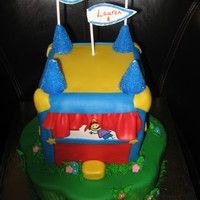 Bounce House Cake Bounce House Cake for 3 young girls birthday party. They had 3 different bounce houses at the party. Cake was Vanilla Bean with Cookies &#...