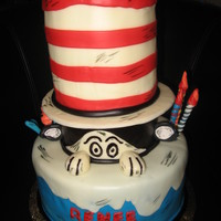 Cat In The Hat Cake Vanilla Bean Cake with fondant and gumpaste decorations.