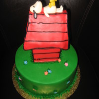 Snoopy Birthday Cake This was my husband's birthday cake. Snoopy and Woodstock on the dog house. Another angle shows the door to the dog house. Used black...