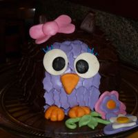Owl Cake small ball cake covered in chocolate for the feathers and ears, feet, eyes and bow out of fondant.