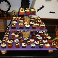 Halloween Cupcakes My daughter wanted a Halloween party for her 7th Birthday. I made 100 cupcackes, 4 different flavors and design. Red velvet for the...