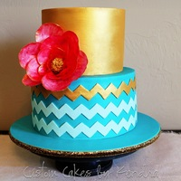 "Teal And Gold Chevron   6"" and 8"" rounds featuring modern chevron with a pop of gold and a wafer paper flower"