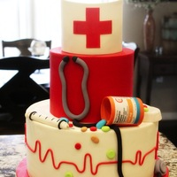 Nurse Lindsay   Medical-themed cake for a nurse's graduation; All decorations are entirely edible