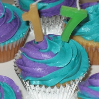 Happy 17Th B-Day White cupcakes with purple and teal buttercream frosting swirl