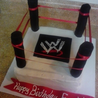 Wwe Cake Buttercream cake with fondant pieces! Rice crispy post covered with fondant