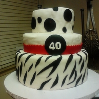 40Th Birthday Cake A Zebra and polka dot 40th birthday cake!