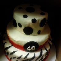 40Th Birthday Cake Fondant birthday cake with zebra and polka dots