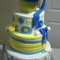 Graduation Cake   3 tier with rice cereal tennis ball. Designed from I thought it turned out well. :)