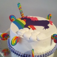 Unicorn And Lollipop Cake For My Niece Her Best Friend Drew A Picture Of A Unicorn And I Recreated It On Her Cake With Fondant   Unicorn and lollipop cake for my niece. Her best friend drew a picture of a unicorn and I recreated it on her cake with fondant
