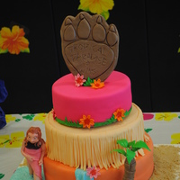 Tropical Paradise Cake Theme for a Middle School's annual Spring Dance. The lady walking in the water is made out of modeling chocolate.
