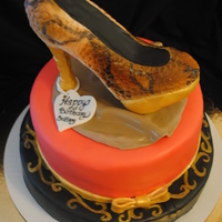Her Favorite Shoe Cake The customer wanted me to replicate her favorite shoe. Shoe was cereal treats as shown. The cake flavor was Pink Moscato...absolutely...