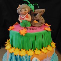 Dora Luau Cake Dora is made of modeling chocolate. Number 3 & palm tree is crispy treats. Boots& boogie board is fondant/gumpaste.
