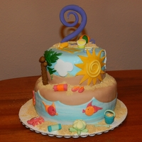 Beach! Cake for friend's daughter's 2nd birthday