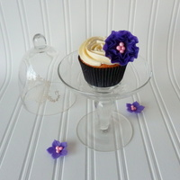 Ruffled Purple Pearly Flower On Cupcake