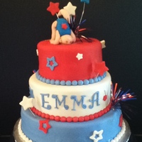Red, White & Blue Gymnastics Cake 3-tiered Darn Good Choc. Cake iced w/VBC and covered in Satin Ice Fondant. All accents made from fondant along with gymnastics girl.