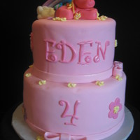 My Little Pony 2-tiered cake covered in fondant. Rainbow & pony made from fondant as well. TFL!!