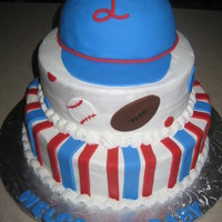 Sports/ball Cake 3-tiered cake iced with VBC. I love the hat on top best. Super cute and fun to make & decorate. TFL!
