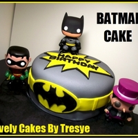 Batman Cake Funko Batman, Robin, and Penguin toys, the rest edible
