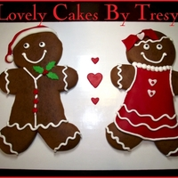 Giant Gingerbread Boy & Girl Cookies   Decorated with fondant and buttercream