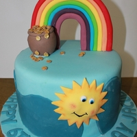 Rainbow Cake rainbow cake with pot of gold for boy or girl.