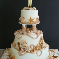 Ocean/beach Themed Wedding Cake.   The wedding was on the beach in Long Beach California.