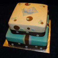 Baby Shower Cake   Stripes, dots, blue, green, brown, baby, blanket