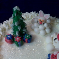 Christmas Tree & Frosty   10' all BC - fondant candy canes and figures - buttercream filling & chocolate cake