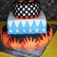 Hot Rod Baby Shower My first three-tiered cake - checkered flag and flames for a boy baby shower with a hot rod theme. Really fun!