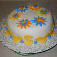 Daisy Cake Blue, orange and yellow daisies - simple and easy!