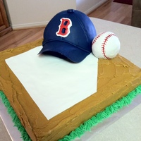Boston Red Sox This cake was for a co-workers husband. The cake was lemon with raspberry filling, covered in buttercream (I loved getting away with the...