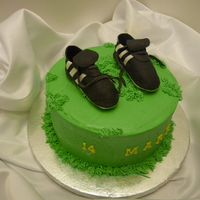Birthday Cleats Chocolate mint cake with mint bc. Sugar paste shoes. Thank you to aldoska for your help.