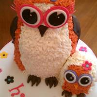 "Hoot Owl  2 6"" rounds and half a wilton ball pan make up the body. A jumbo cupcake bottom carved for head. Secured with wooden rods. Baby Owl is..."