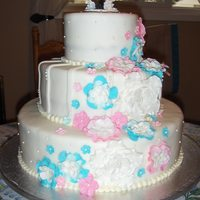 Pink Blue And Pearls My second wedding cake, I am so pleased with how it turned out.