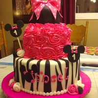Hot Pink Minnie Mouse Inspired Cake Second Time Doing This Cake Hot pink Minnie Mouse inspired cake, second time doing this cake