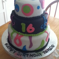 Sweet 16! Made this cake for a friends daughter;s 16th. When I delivered it I brushed Tonic water on the black and white fondant to make it glow in...