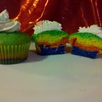 Rainbow Cupcakes   Vanilla cupcakes with BC frosting.
