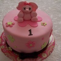 Pink Elephant   1st birthday smash cake with cupcakes