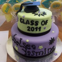 Graduation Cake 2 tier grad cake, top tier chocolate cake with mint chocolate chip filling, bottom tier french vanilla with pralines and cream filling.