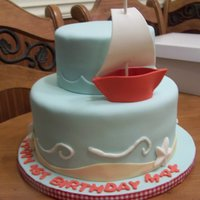 1St Birthday Sailboat Cake Made using a picture provided by the mother. Don't know who made the original but want to say thank you for a sweet design. Hopefully...