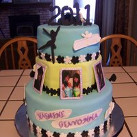 Grad Cake 3 tier made for 2 best friends with their various interests and activities represented.