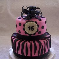 Sweet Sixteen   First zebra stripe cake! Chocolate cake with chocolate fudge filling.