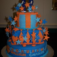 Graduation Cake For Twins This cake was for my twin sons' high school graduation - one will be attending Clemson University (the tigers) and the other will be...