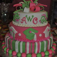 Pink And Green Graduation Cake This cake was for my daughter's graduation from high school. She loves pink and green as well as monograms.